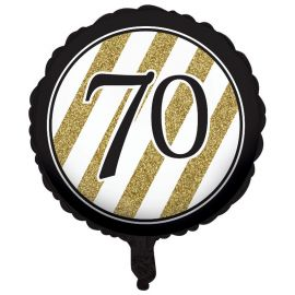 Globo 70 Negro y Oro 45 cm