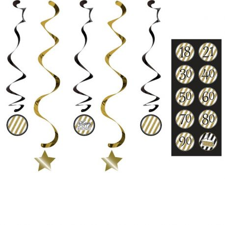 5 Colgantes Negro y Oro