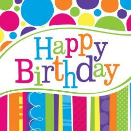 18 Servilletas Happy Birthday Rayas y Puntos 33 cm