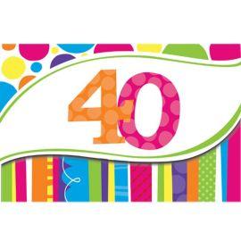 8 Invitaciones 40 Rayas y Puntos