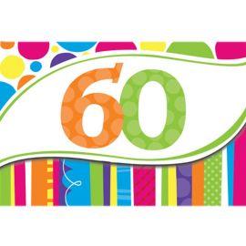 8 Invitaciones 60 Rayas y Puntos