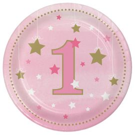 8 Platos Un Año Niña Little Star 18 cm