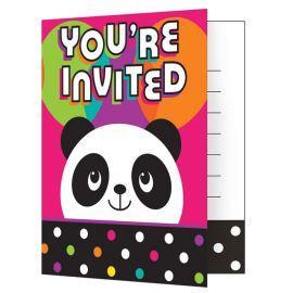 8 Invitaciones Panda