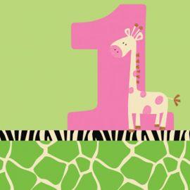 16 Servilletas Wild At One Giraffe 25 cm