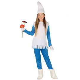 Disfraz de Enanita Azul para Niña con Flecos