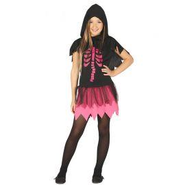 Disfraz de Esqueleto Niña con Falda Rosa