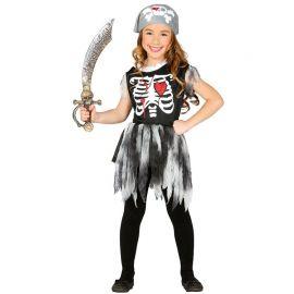 Disfraz de Pirata Esqueleto Niña con Pañuelo