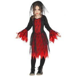 Disfraz de Gótica para Niña con Velo Corto