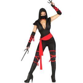 Disfraz de Ninja para Mujer con Cintas Rojas