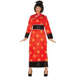 Disfraz de China para Mujer con Kimono Rojo