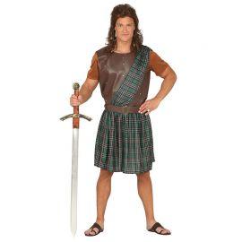 Disfraz de Guerrero Escocés para Hombre con Falda con Banda