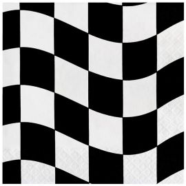18 Servilletas Blanco y Negro 33 cm