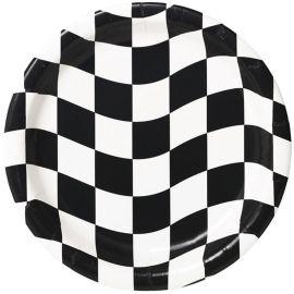 8 Platos Blanco y Negro 18 cm