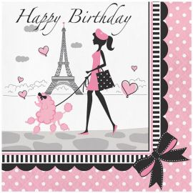 18 Servilletas Paris Happy Birhtday 33 cm