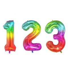 Globos Números Multicolor